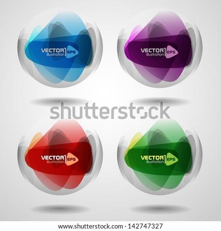 Set of translucent crystal ball. Vector illustration. Eps 10.