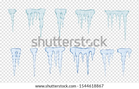 Set of translucent light blue icicles on transparent background. Transparency only in vector file. Vector illustration