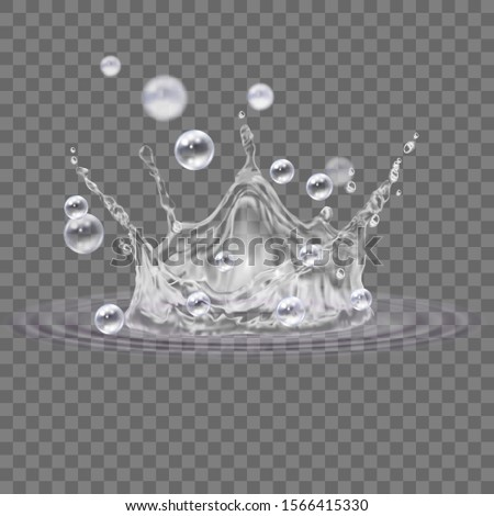 Set of translucent water splashes, drops and crown in light blue colors, isolated on transparent background. Transparency only in vector file.