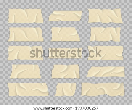 Set of transparent adhesive tape. Beige adhesive or masking tape pieces with torn edges realistic style. Realistic wrinkled strips. Sticky tapes with shadow.
