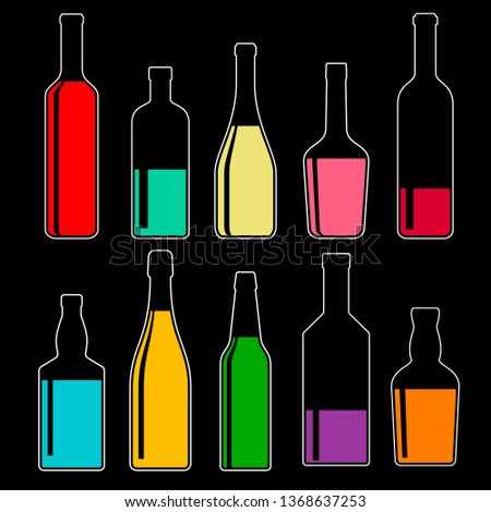 set of transparent bottles with alcoholic drinks on dark background, vector color illustrations. collection of icons. #1368637253