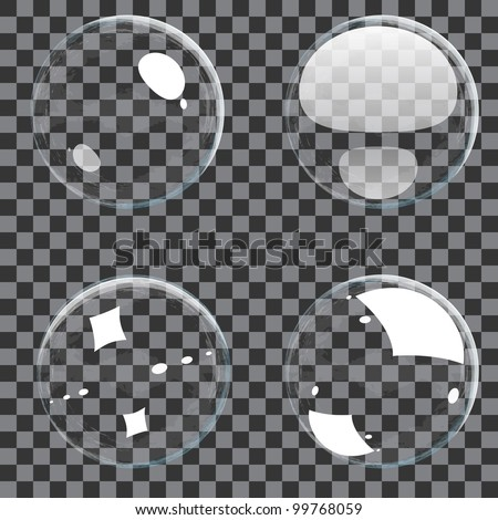 Set of transparent bubbles - stock vector