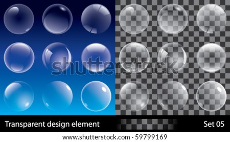Set of transparent bubbles. Vector illustration for design.