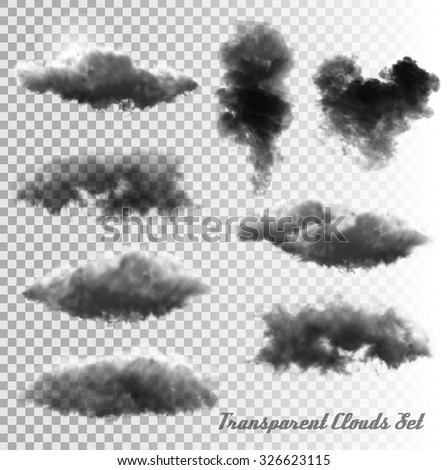 set of transparent clouds and