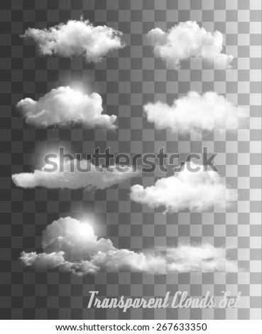 Shutterstock Set of transparent clouds. Vector.