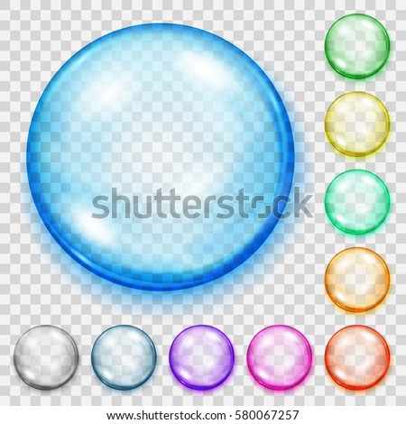 set of transparent colored