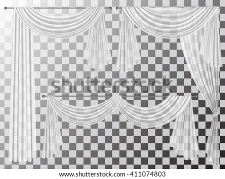 Set of transparent curtains different forms. Curtains are decorated with wavy folds lambrequins zhabot for the window decoration.