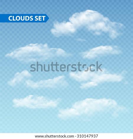 Set of transparent different clouds. Vector illustration EPS 10