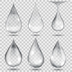 Set of transparent drops in gray colors. Transparency only in vector format. Can be used with any background
