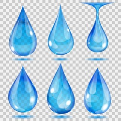 Set of transparent drops in light blue colors. Transparency only in vector format. Can be used with any background