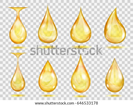 Set of transparent drops in yellow colors. Transparency only in vector format