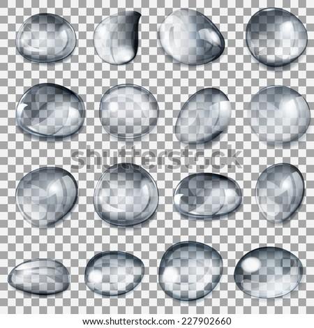 set of transparent drops of