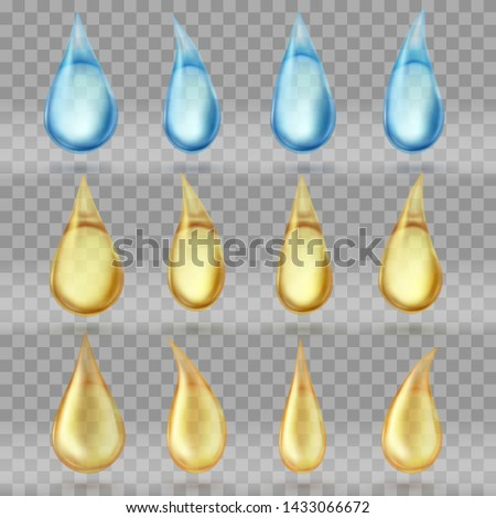 Set of transparent drops . Transparent background.