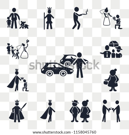Set Of 13 transparent editable icons such as Car collection, Event, Old Couple, Prince, King, Woman, House, Newlyweds, web ui icon pack, transparency set #1158045760