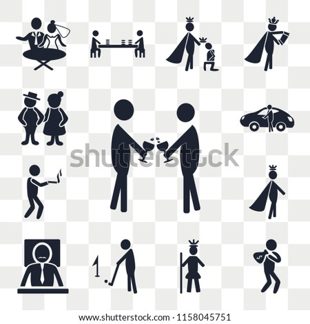 Set Of 13 transparent editable icons such as Event, Rich man, Royalty, Golf, Boss, Prince, Smoking, Sport car, Old Couple, web ui icon pack, transparency set #1158045751