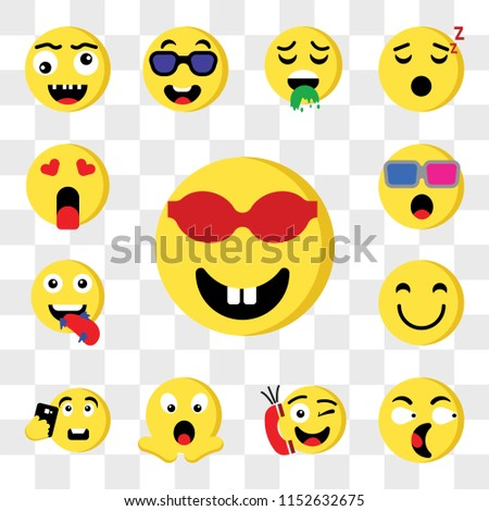 Set Of 13 transparent editable icons such as Nerd, Surprised, Phone call, Shocked, Selfie, Happy, Hungry, 3d glasses, In love, web ui icon pack, transparency set