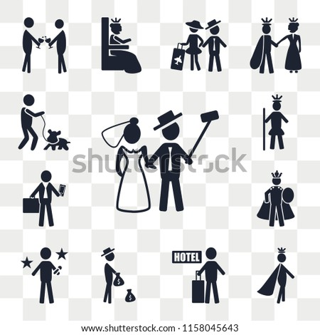 Set Of 13 transparent editable icons such as Newlyweds, Prince, Hotel, Rich, Famous, Emperor, Business man, Royalty, Man and Dog, web ui icon pack, transparency set #1158045643