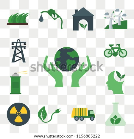 Set Of 13 transparent editable icons such as Save, Biomass, Garbage truck, Renewable energy, Nuclear, Think, Spray, Bicycle, Electric tower, web ui icon pack, transparency set #1156885222
