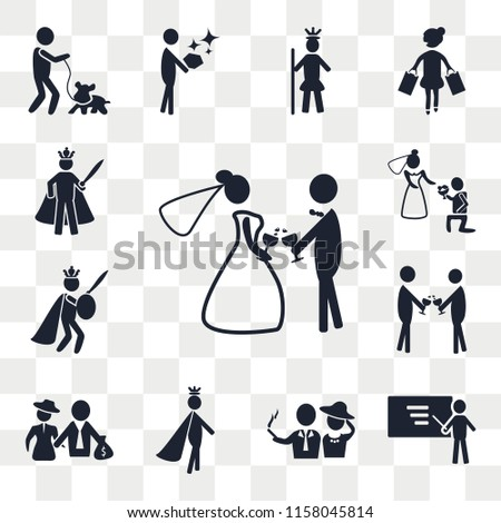 Set Of 13 transparent editable icons such as Wedding, Business, Rich people, Prince, man, Event, King, web ui icon pack, transparency set #1158045814