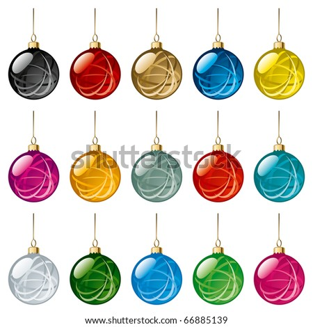 Set of transparent glass Christmas balls. Vector Illustration