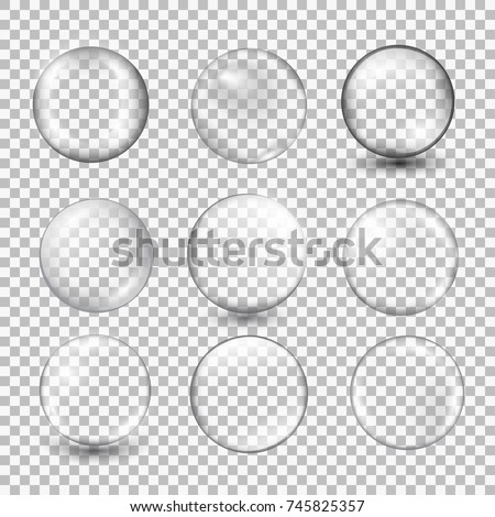 Set of transparent glass sphere with glares and highlights. Vector illustration with transparencies, gradient and effects. Realistic glossy orb, water soap bubble, white pearl.