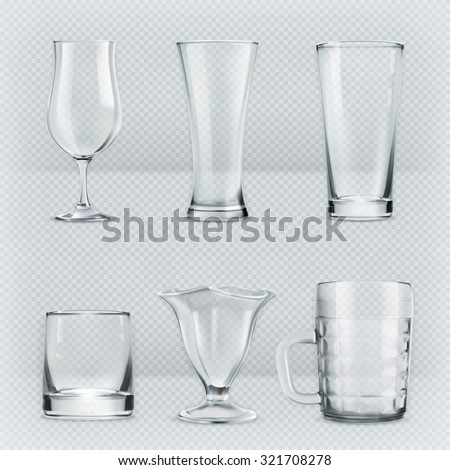set of transparent glasses