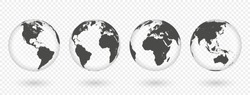 Set of transparent globes of Earth. Realistic world map in globe shape with transparent texture and shadow. Vector