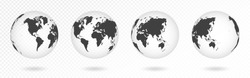 Set of transparent globes of Earth. Realistic world map in globe shape with transparent texture and shadow. Abstract 3d globe icon. Vector