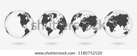 set of transparent globes of
