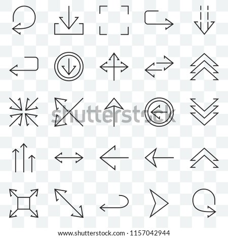 Set Of 25 transparent icons such as Circular arrow, Right Left Diagonal, Expand, Up chevron, Increasing, U turn, Down web UI transparency icon pack #1157042944