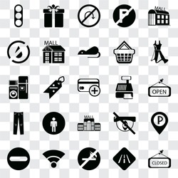 Set Of 25 transparent icons such as Closed, Road, No smoking, Wifi, Forbidden, Dress, Cashier machine, Mall, Jeans, water, turn, Gift, web UI transparency icon pack