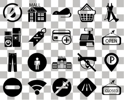 Set Of 20 transparent icons such as Closed, Road, No smoking, Wifi, Forbidden, Dress, Parking, Mall, Jeans, Discount, Cashier machine, water, Open, Rats, transparency icon pack, pixel perfect