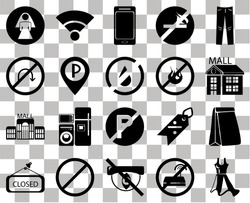 Set Of 20 transparent icons such as Dress, No wifi, Hidden, Forbidden, Closed, Jeans, Paper bag, parking, Mall, Parking, fire, Restroom, Smartphone, transparency icon pack, pixel perfect