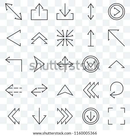 Set Of 25 transparent icons such as Expand, Up arrow, Diagonal Upload, Right chevron, Left Turn left, web UI transparency icon pack, pixel perfect
