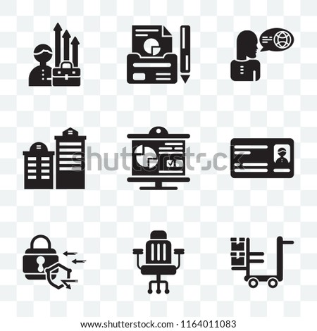 Set Of 9 transparent icons such as Logistics, Chair, Padlock, Card, Presentation, Building, Translator, Report, Growth, can be used for mobile, pixel perfect vector icon pack, transparency set
