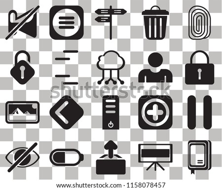 Set Of 20 transparent icons such as Notebook, Television, Upload, Battery, Hide, Fingerprint, Pause, Server, Photos, Lines, User, Muted, Locked, Street, transparency icon pack, pixel perfect