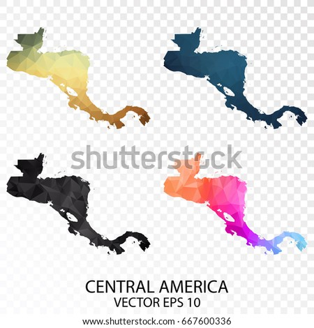 Set of Transparent Polygonal Map - Low Poly Map of Central America.