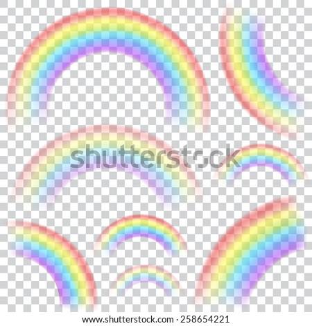 set of transparent rainbows in