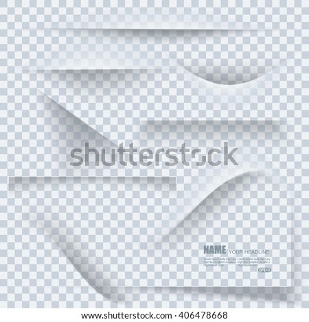 Set of transparent realistic paper shadow effects on blank sheet of paper. Elements  for your design.