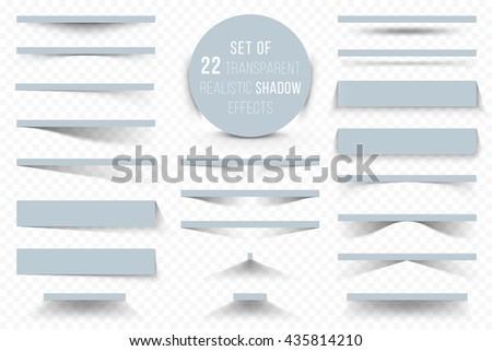 Set of transparent realistic shadow effects. Vector illustration for your modern design. Website Design Elements on transparent Background.