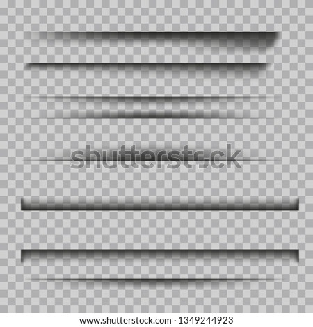 Set of  transparent shadows. vector illustration. Shadow effects isolated on checkered background