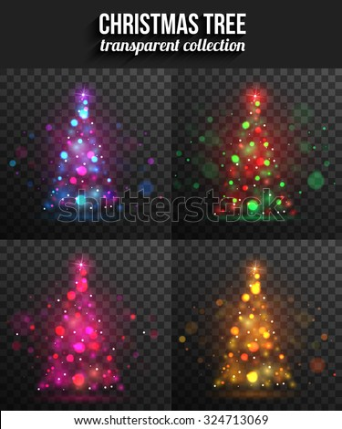 Set of transparent shining christmas trees for holiday design. Vector illustration stock photo