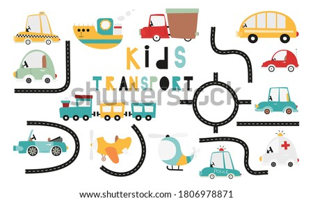 Set of transport and roads in scandinavian style. Template for use in kids goods design – fabric, nursery, packaging. Vector illustration isolated on white background. Cartoon cars, taxi, cabriolet.