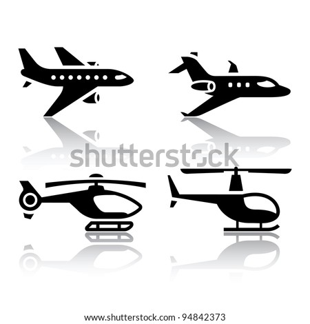 set of transport icons   airbus
