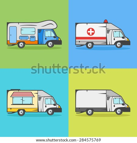 Set of transport icons Camper ambulance food truck and cargo truck