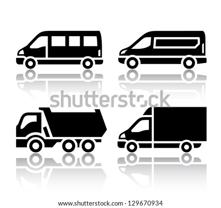 Set of transport icons - freight transport, vector illustration isolated on a white background