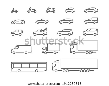 Set of transport icons, line silhouette, motorcycles, cars, delivery transport