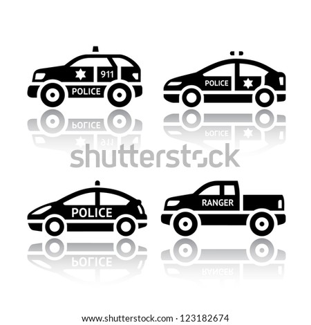 Set of transport icons - Police cars. Silhouettes of vector illustrations isolated on white background, with reflection.