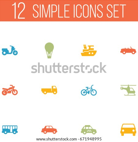 Set Of 12 Transport Icons Set.Collection Of Copter, Lorry, Bicycle And Other Elements.
