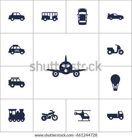 set of 13 transport icons set